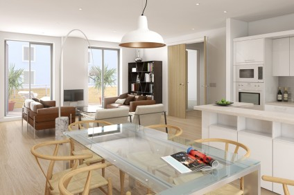 Interior CGI – The-Cooperage Apt43 Sitting Room