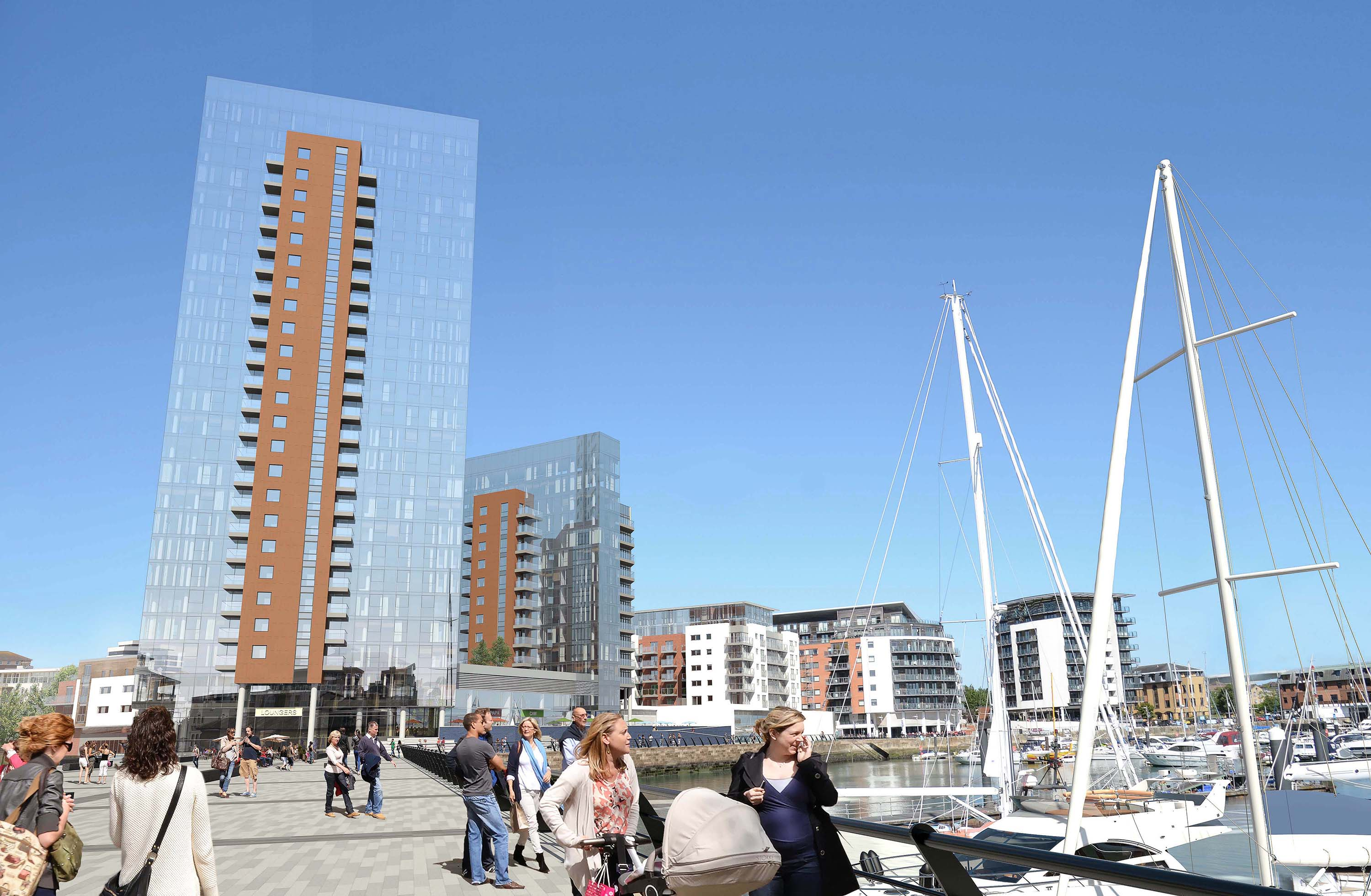 3D marketing visual for Admiral's Quay Southampton
